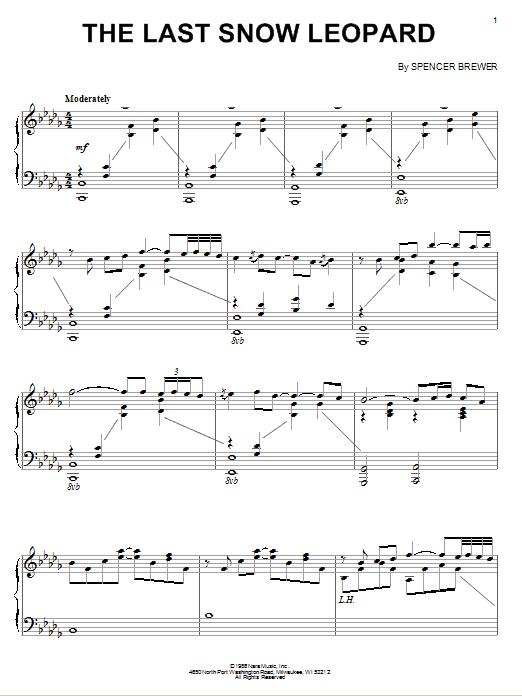 Partition piano The Last Snow Leopard de Spencer Brewer - Piano Solo