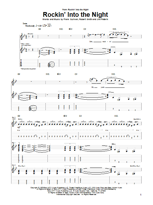 Tablature guitare Rockin' Into The Night de 38 Special - Tablature Guitare