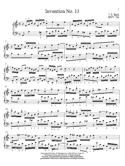 Partition piano Invention No.13 de Johann Sebastian Bach - Piano Solo