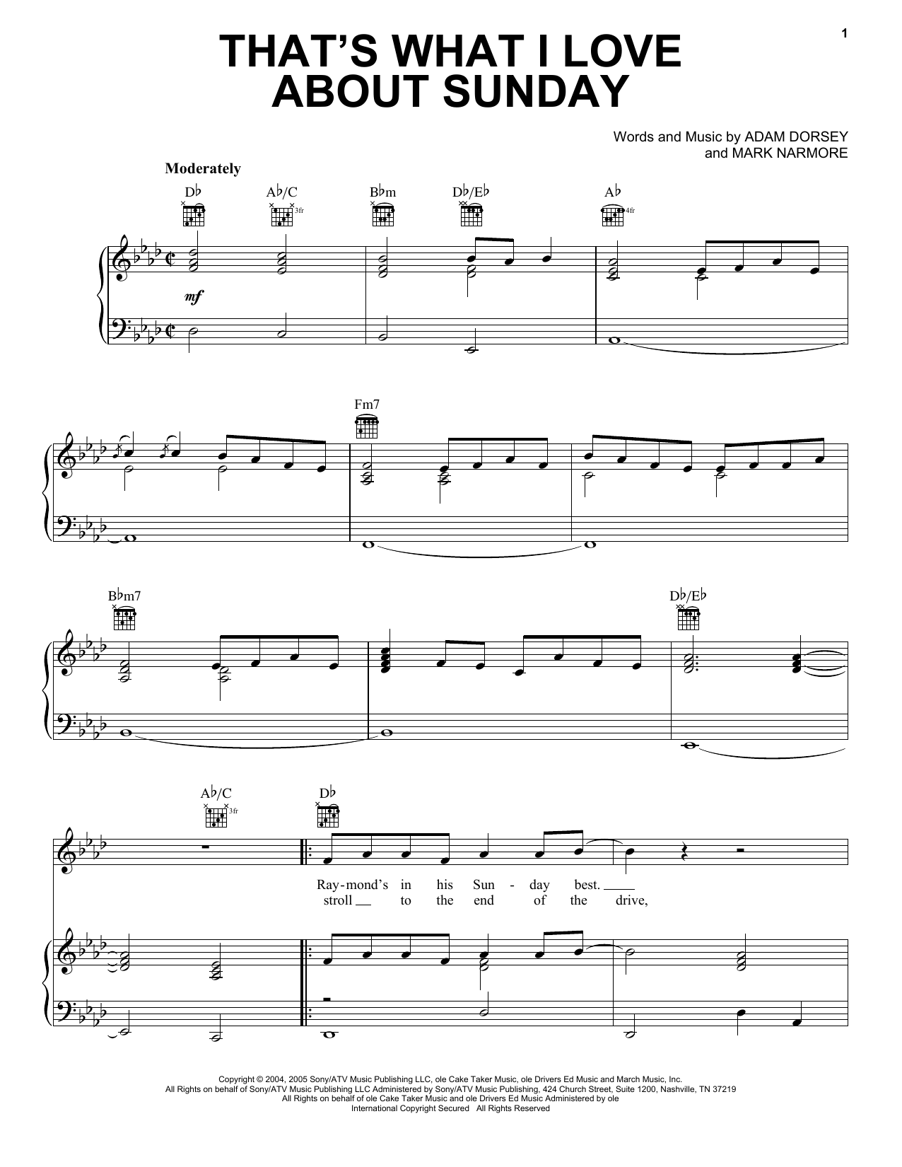 That's What I Love About Sunday sheet music for voice, piano or guitar by Mark Narmore