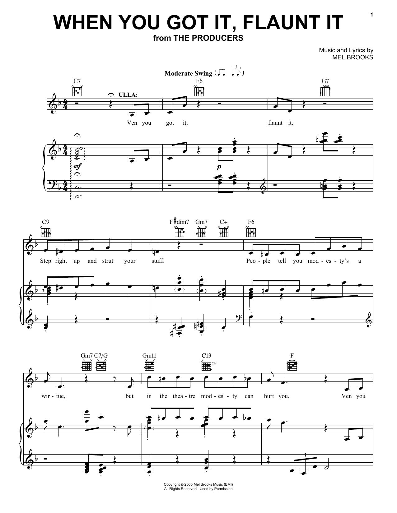 Partition piano When You Got It, Flaunt It de Mel Brooks - Piano Voix Guitare (Mélodie Main Droite)