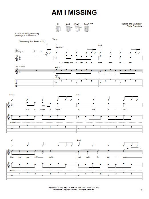 Tablature guitare Am I Missing de Dashboard Confessional - Tablature Guitare