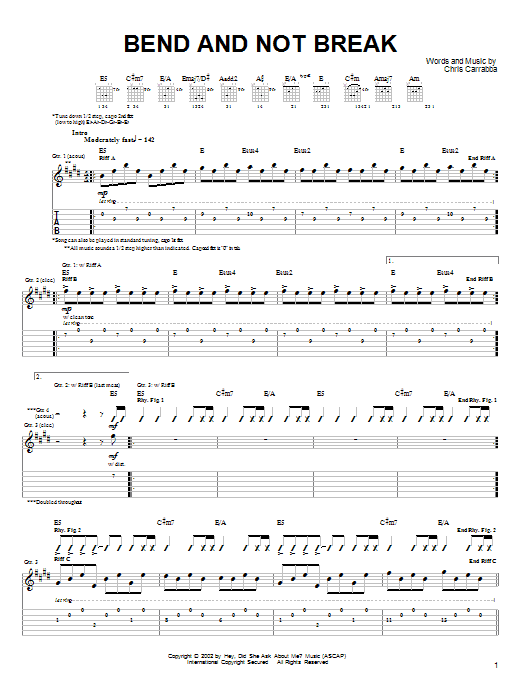 Tablature guitare Bend And Not Break de Dashboard Confessional - Tablature Guitare