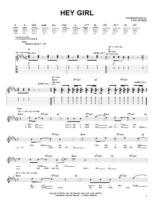 Tablature guitare Hey Girl de Dashboard Confessional - Tablature Guitare