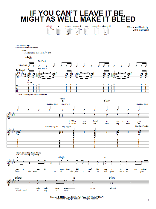 Tablature guitare If You Can't Leave It Be, Might As Well Make It Bleed de Dashboard Confessional - Tablature Guitare