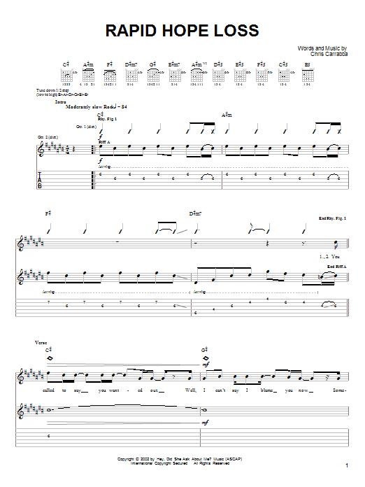 Tablature guitare Rapid Hope Loss de Dashboard Confessional - Tablature Guitare