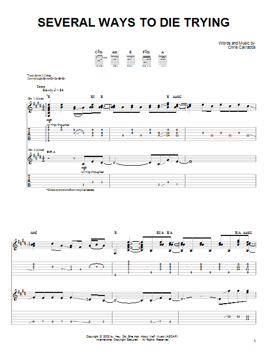 Tablature guitare Several Ways To Die Trying de Dashboard Confessional - Tablature Guitare