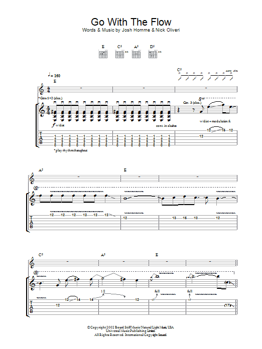 Go With The Flow sheet music for guitar solo (tablature) by Nick Oliveri