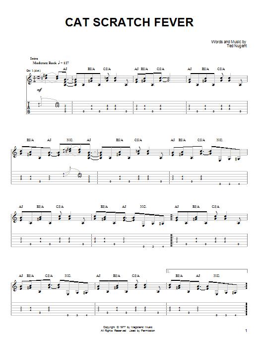 Tablature guitare Cat Scratch Fever de Ted Nugent - Tablature guitare facile
