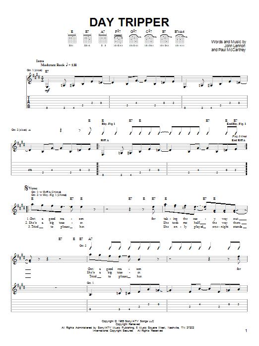 Tablature guitare Day Tripper de The Beatles - Tablature guitare facile