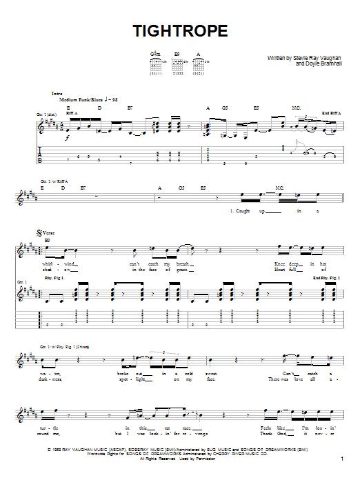 Tablature guitare Tightrope de Stevie Ray Vaughan - Tablature guitare facile