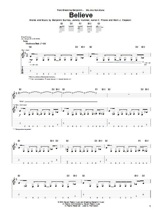 Believe sheet music for guitar solo (tablature) by Mark J. Klepaski