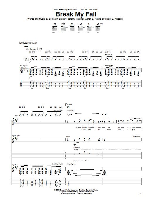 Tablature guitare Break My Fall de Breaking Benjamin - Tablature Guitare