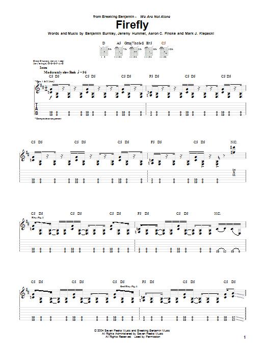 Tablature guitare Firefly de Breaking Benjamin - Tablature Guitare