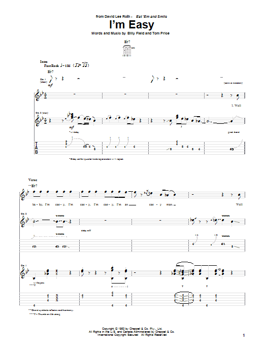 Tablature guitare I'm Easy de David Lee Roth - Tablature Guitare
