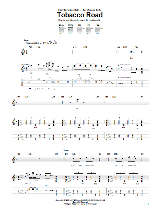 Tablature guitare Tobacco Road de David Lee Roth - Tablature Guitare