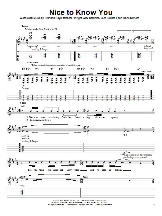 Tablature guitare Nice To Know You de Incubus - Tablature Guitare