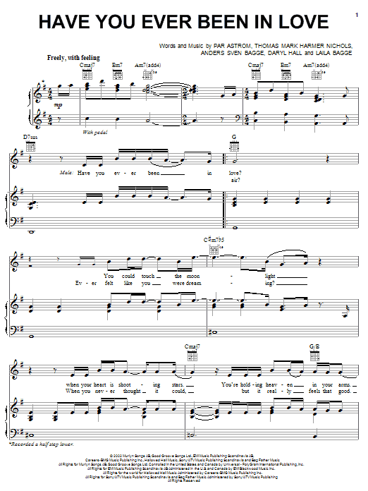 Have You Ever Been In Love sheet music for voice, piano or guitar by Tom Nichols