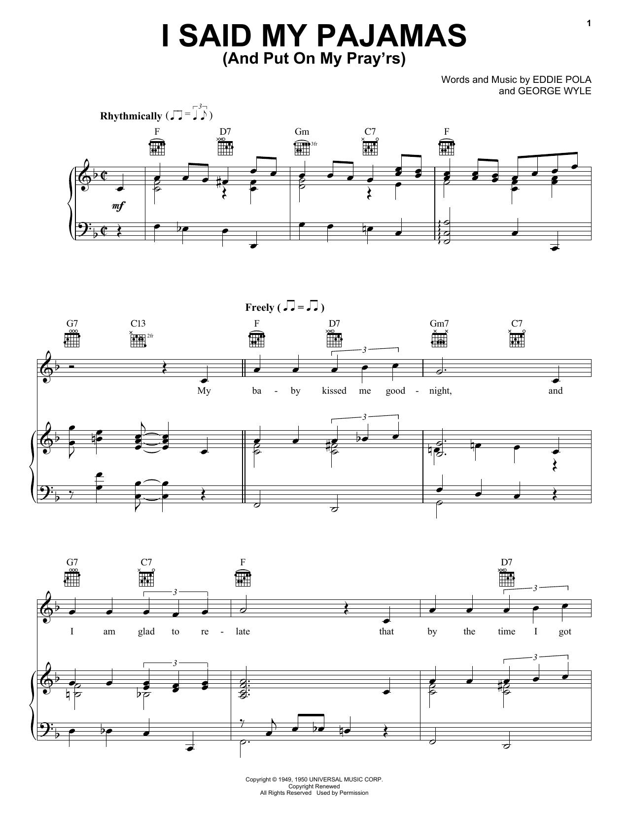I Said My Pajamas (And Put On My Pray'rs) sheet music for voice, piano or guitar by George Wyle