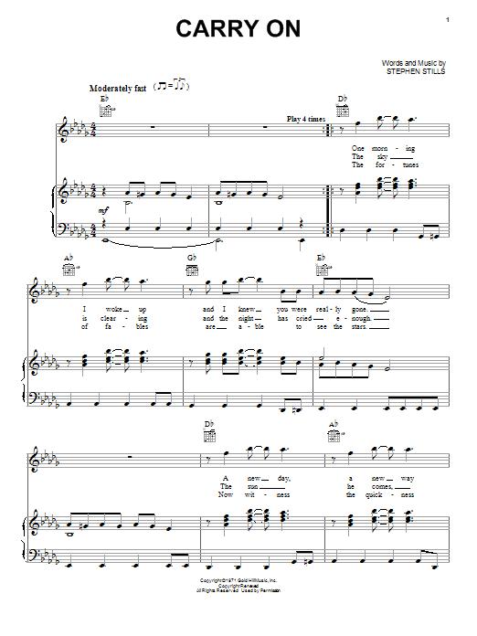 Partition piano Carry On de Crosby, Stills & Nash - Piano Voix Guitare (Mélodie Main Droite)