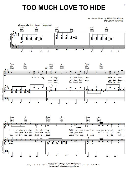 Partition piano Too Much Love To Hide de Crosby, Stills & Nash - Piano Voix Guitare (Mélodie Main Droite)