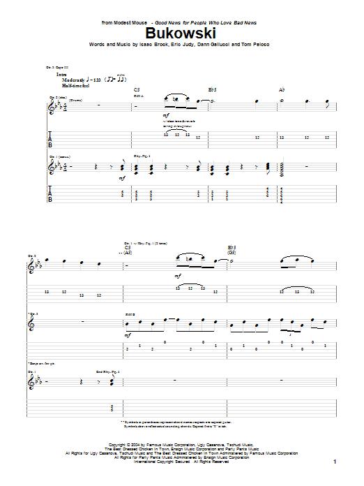 Bukowski sheet music for guitar solo (tablature) by Tom Peloso