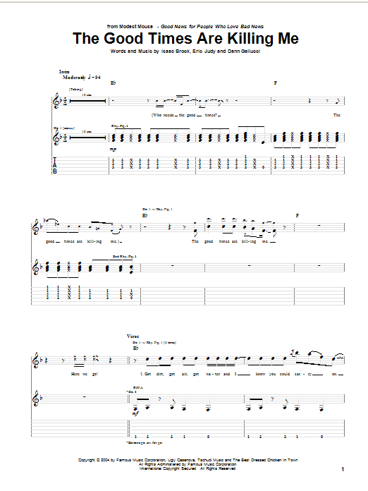 Tablature guitare The Good Times Are Killing Me de Modest Mouse - Tablature Guitare