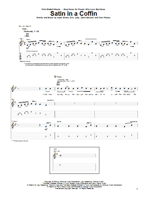 Satin In A Coffin sheet music for guitar solo (tablature) by Tom Peloso