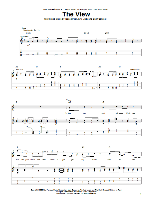 The View sheet music for guitar solo (tablature) by Isaac Brock