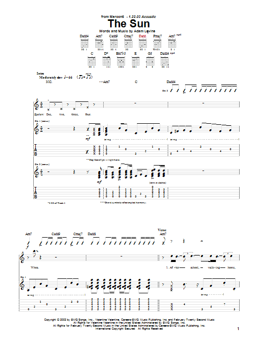 Tablature guitare The Sun de Maroon 5 - Tablature Guitare