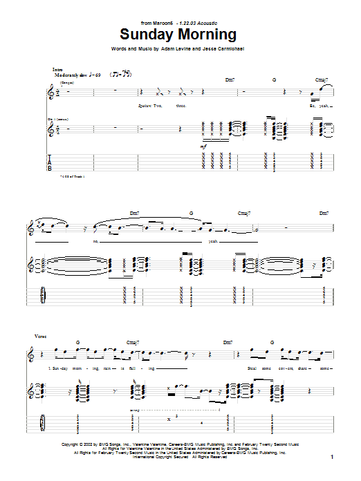 Tablature guitare Sunday Morning de Maroon 5 - Tablature Guitare
