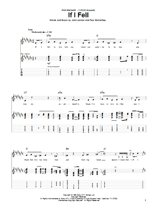 Tablature guitare If I Fell de Maroon 5 - Tablature Guitare