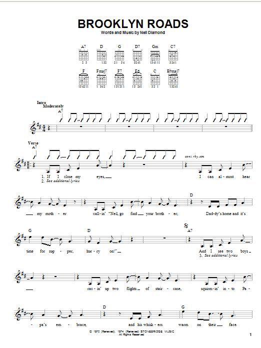 Tablature guitare Brooklyn Roads de Neil Diamond - Autre
