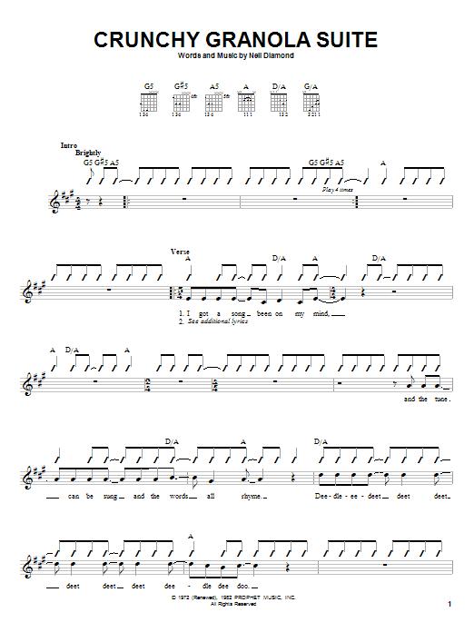 Tablature guitare Crunchy Granola Suite de Neil Diamond - Autre