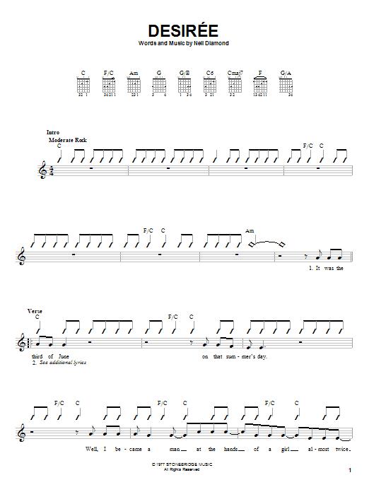 Tablature guitare Desiree de Neil Diamond - Autre