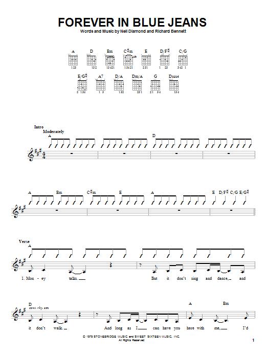 Tablature guitare Forever In Blue Jeans de Neil Diamond - Autre