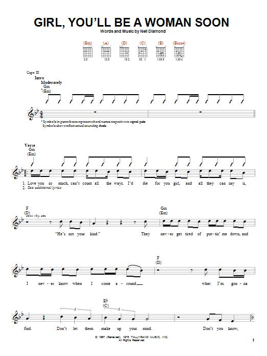 Tablature guitare Girl, You'll Be A Woman Soon de Neil Diamond - Autre