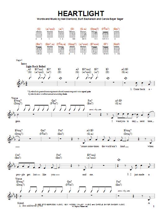 Tablature guitare Heartlight de Neil Diamond - Autre
