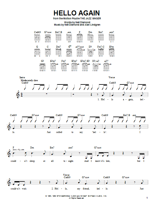 Tablature guitare Hello Again de Neil Diamond - Autre