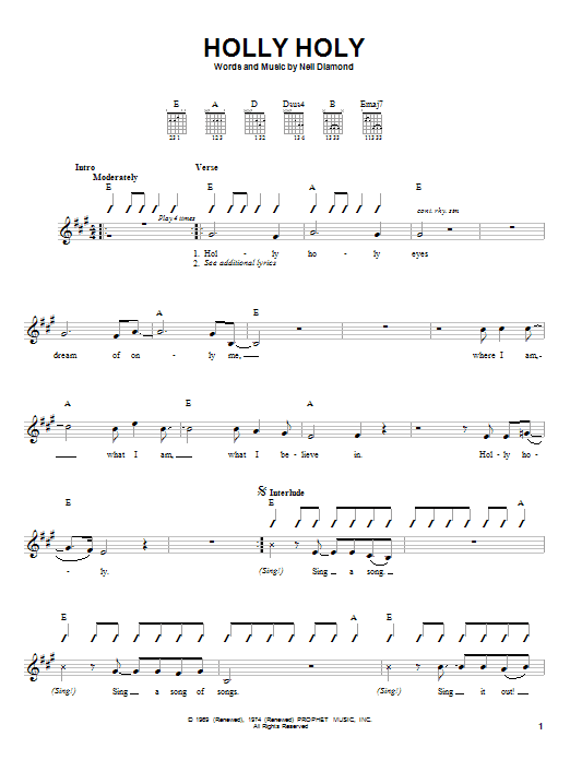 Tablature guitare Holly Holy de Neil Diamond - Autre