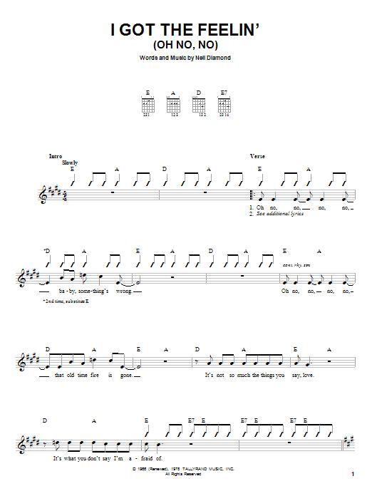 Tablature guitare I Got The Feelin' (Oh No, No) de Neil Diamond - Autre