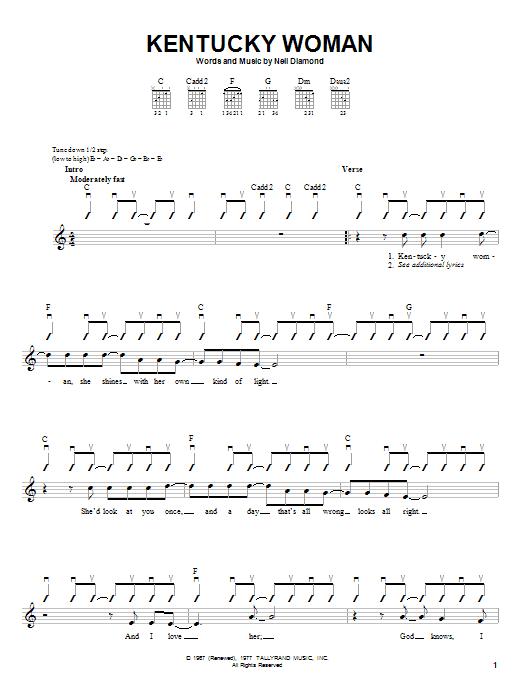 Tablature guitare Kentucky Woman de Neil Diamond - Autre