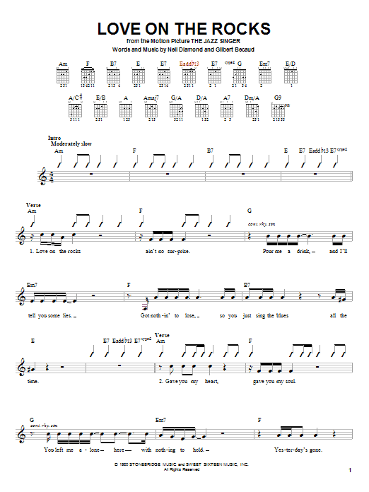 Tablature guitare Love On The Rocks (from The Jazz Singer) de Neil Diamond - Autre