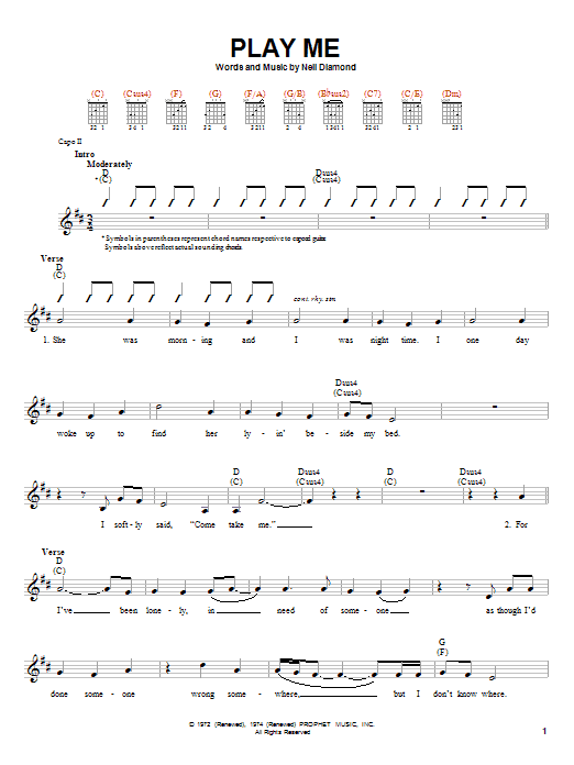Tablature guitare Play Me de Neil Diamond - Autre