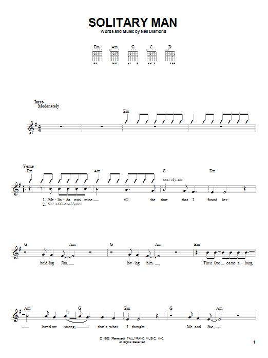 Tablature guitare Solitary Man de Neil Diamond - Autre
