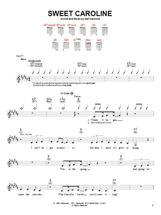 Tablature guitare Sweet Caroline de Neil Diamond - Autre
