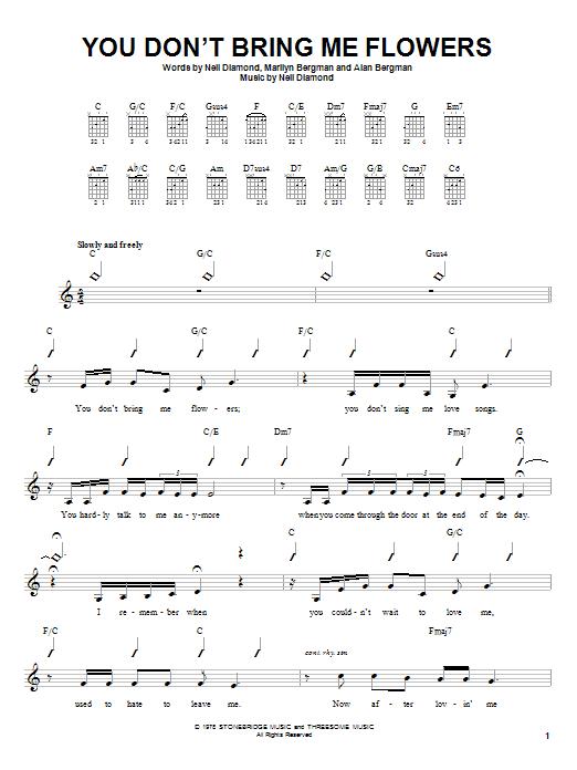 Tablature guitare You Don't Bring Me Flowers de Neil Diamond and Barbra Streisand - Autre