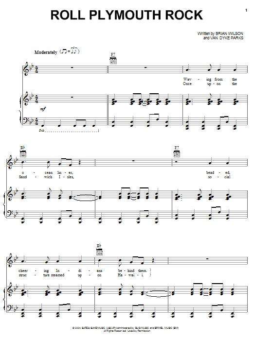 Partition piano Roll Plymouth Rock de Brian Wilson - Piano Voix Guitare (Mélodie Main Droite)