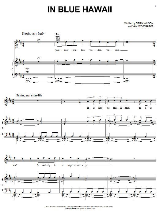 Partition piano In Blue Hawaii de Brian Wilson - Piano Voix Guitare (Mélodie Main Droite)