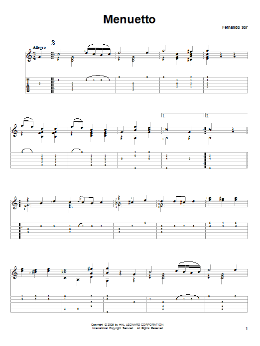 Tablature guitare Menuetto de Fernando Sor - Tablature Guitare